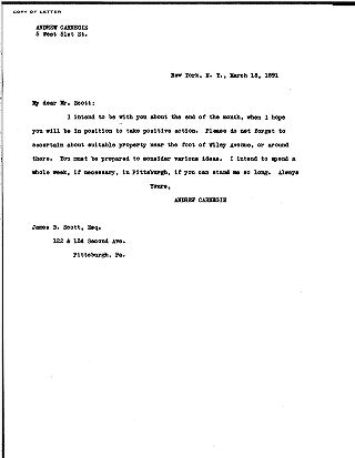 (Andrew Carnegie to James B. Scott, March 18, 1891 (copy))
