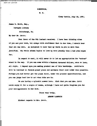 (Andrew Carnegie to James B. Scott, July 22, 1891 (copy))