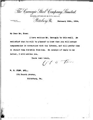 [Henry Clay Frick to William N. Frew, February 28, 1894]