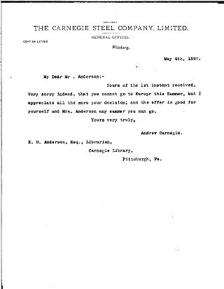 (Andrew Carnegie to Edwin H. Anderson, May 4, 1897 (copy))