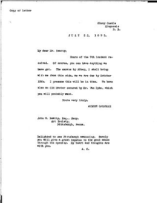 (Andrew Carnegie to John W. Beatty, July 22, 1895 (copy))