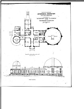 [Plan of a proposed astronomical observatory with public department to be erected in Riverview...