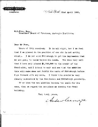 [Andrew Carnegie to W.N. Frew, April 21, 1900]