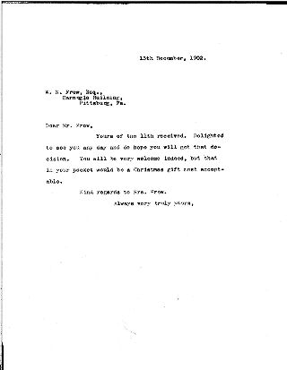 (Andrew Carnegie to William Nimick Frew, December 13, 1902)