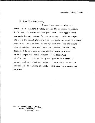 (Andrew Carnegie to William Nimick Frew, December 16, 1903)