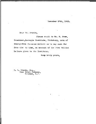 [Andrew Carnegie to Robert A. Franks, November 27, 1903]