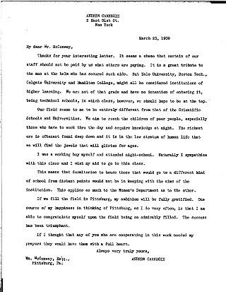 (Andrew Carnegie to Wm. McConway, March 25, 1909 (copy 1))
