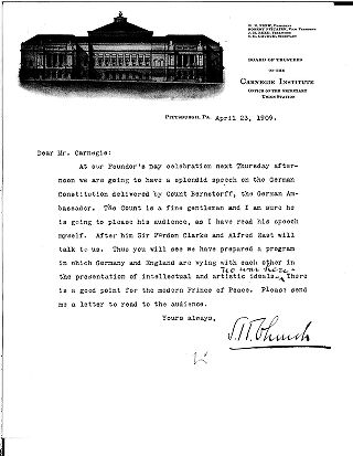 [S.H. Church to Andrew Carnegie, April, 23, 1909]