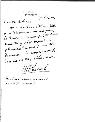 [S.H. Church to Mr. Bertram, April, 27, 1909]