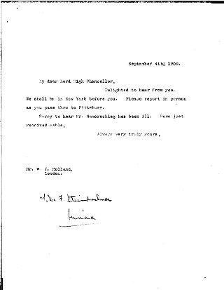 (Andrew Carnegie (?) to W.J. Holland to Andrew, September 4, 1909)