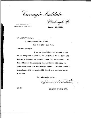 [John W. Beatty to Andrew Carnegie, January 18, 1910]