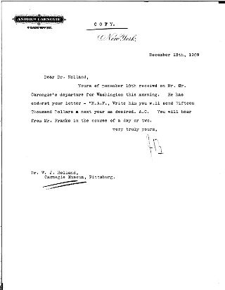 (J.B. to Dr. Holland, December 13, 1909)