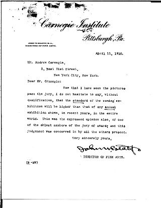 [John W. Beatty to Andrew Carnegie, April 11, 1910]