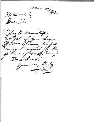 [Receipt for exchange of currency for payment to Anders Zorn, January 11, 1912]