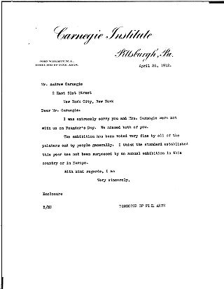 (John W. Beatty to Andrew Carnegie, April 26, 1912)