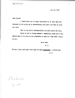 [Andrew Carnegie to Samuel Harden Church, May 10, 1912 (copy)]