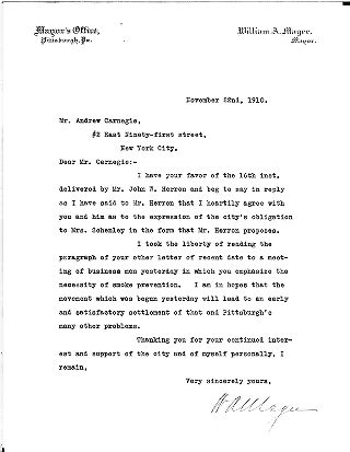 (William A. Magee to Andrew Carnegie, November 22, 1910)