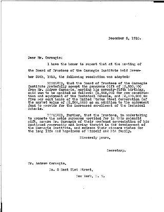 (S.H. Church to Andrew Carnegie, December 5, 1910 (copy))