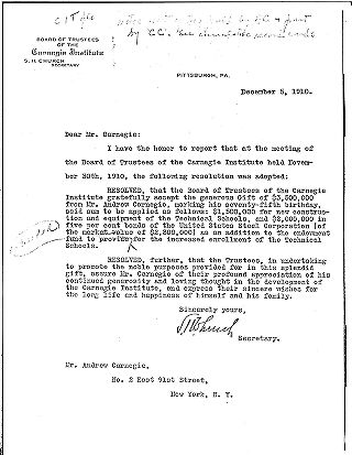 (S.H. Church to Andrew Carnegie, December 5, 1910 (letterhead copy))