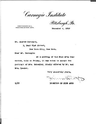 (John W. Beatty to Andrew Carnegie, December 6, 1910)