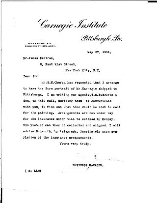 [J. A. Garber to James Bertram, May 27, 1911]