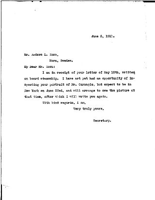 (Samuel H. Church to Anders L. Zorn, June 5, 1911)