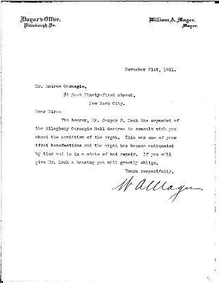 (William A. Magee to Andrew Carnegie, November 21, 1911)
