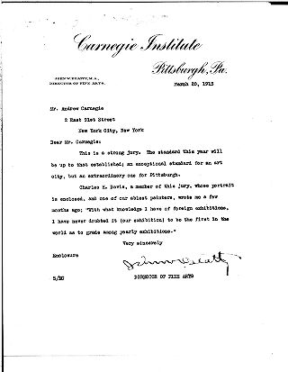 (John W. Beatty to Andrew Carnegie, March 20, 1913)