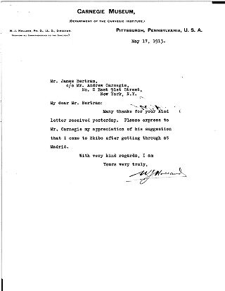 [W.J. Holland to James Bertram, May 17, 1913]