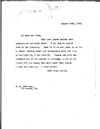 [Andrew Carnegie to W.N. Frew, August 17, 1903]