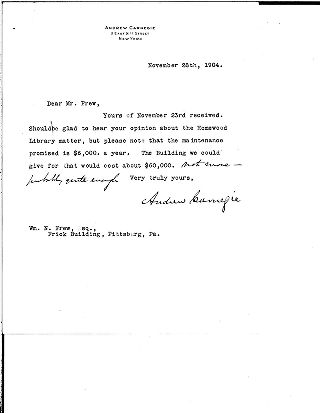 (Andrew Carnegie to Wm. N. Frew, November 28, 1904)