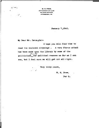 (W.N. Frew to Andrew Carnegie, January 7, 1905)