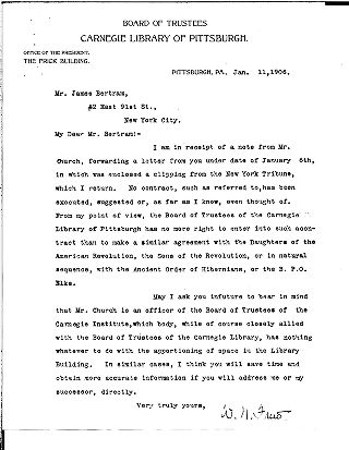 [W.N. Frew to James Bertram, January 11, 1906]