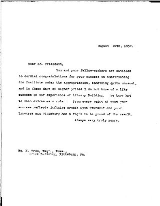 [Andrew Carnegie to Mr. President, August 29, 1907]
