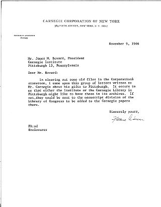 [Florence Anderson to James M. Bovard, President, November 9, 1966]