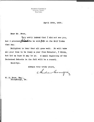 (Andrew Carnegie to William N. Frew, April 25, 1905)