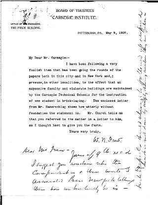 (William Nimick Frew to Andrew Carnegie, May 9, 1907)