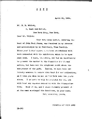 "[""""Director of Fine Arts"""" to F.D. Millet, April 21, 1908]"