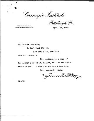 (John W. Beatty to Andrew Carnegie, April 25, 1908)