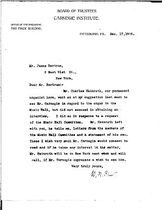 [W.N. Frew to James Bertram, December 17, 1908]