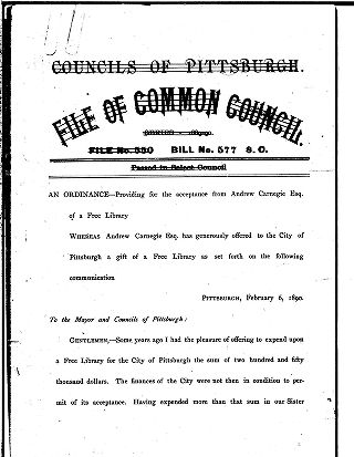 Councils of Pittsburgh. File of Common Council: Series 1889-90, File No. 550 Bill No. 577 S.C.