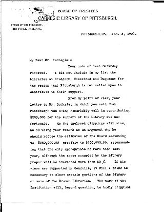 [W.N. Frew to Andrew Carnegie, January 3, 1907]