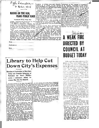 Mayor on the run--fears public rage ; Library to help cut down city's expenses ; A weak fire...