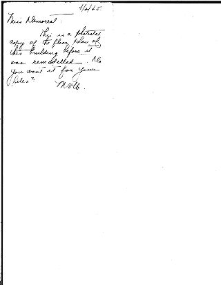 [Note from MVLB to Miss Demorest, April 2, 1945 with photostat copy of floor plan for library]