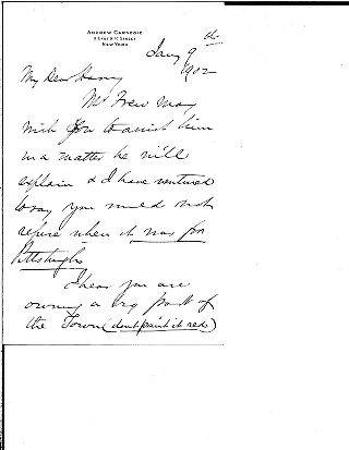 [Andrew Carnegie to Harrison W. Craver (?), January 9, 1902]