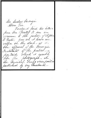[Rebecca S. Foster to Andrew Carnegie, August 10, [1904?]]