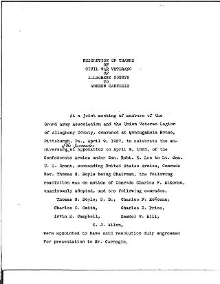 (Resolution of thanks of Civil War veterans of Allegheny County to Andrew Carnegie)