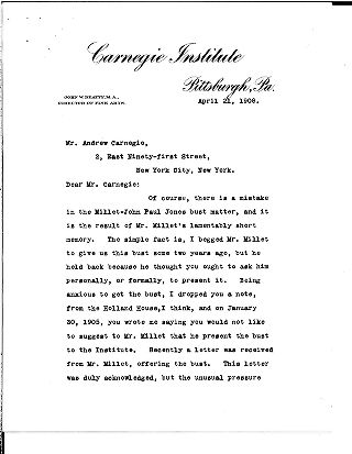 [John W. Beatty to Andrew Carnegie, April 21, 1908]