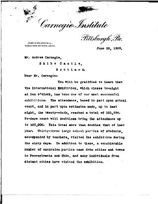 [John W. Beatty to Andrew Carnegie, June 30, 1909]