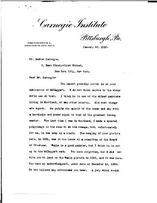 (John W. Beatty to Andrew Carnegie, January 22, 1910)